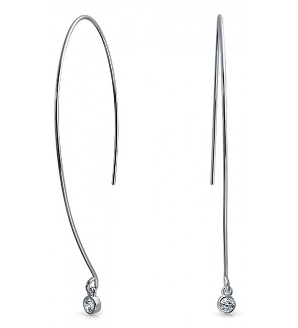 Bling Jewelry Sterling Silver Modern Long Curved Wire CZ Threader Earrings - C6129SH10DX