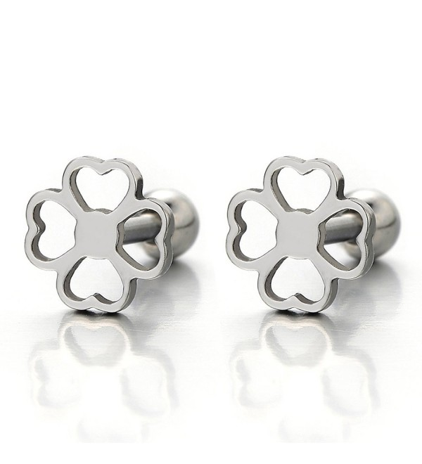 Pair Fore Leaf Clover Stud Earrings of Stainless Steel Screw Back for Women and Girls - CP12D39BDVB