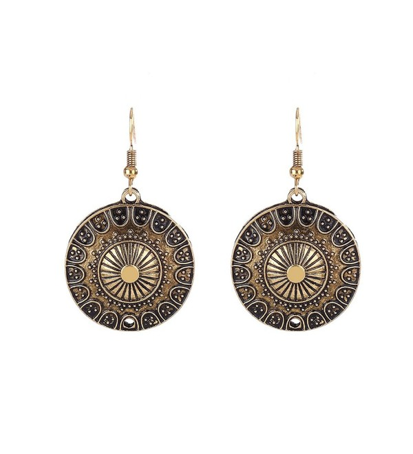 Lureme Ethnic Jewelry Antique Round Shaped Pendant Hook Earrings for Women and Girls (02004293-p) - Antique Gold - C5184QZ8GLL