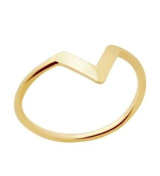 Chevron V Midi Ring in Gold Silver Rose Gold - Best Friend Jewelry Knuckle Stacking Ring Gift Women - Gold - CQ18593GWLU