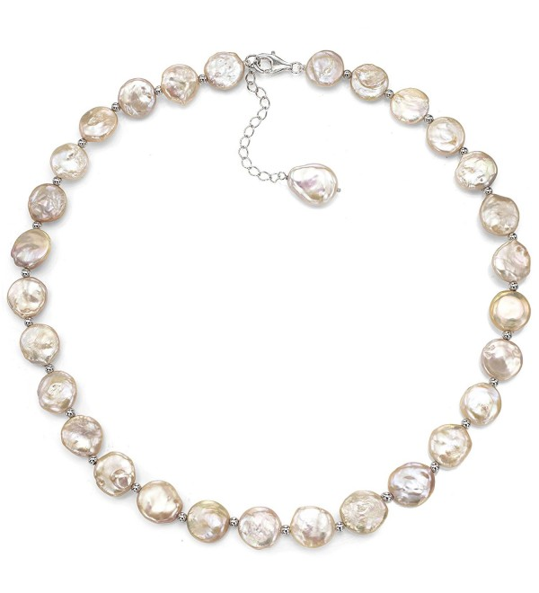 "Sterling Silver 12-12.5mm Pink Coin Shape Freshwater Cultured Pearl Necklace- 18"" + 2"" Extender - CK1287QQYT1"