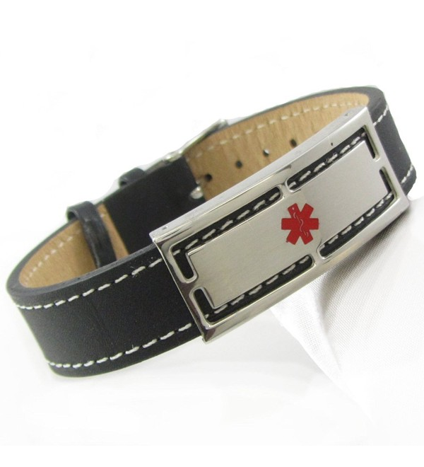 "MyIDDr - Pre-Engraved & Customized Diabetes Type 2 Black Leather Medical ID Bracelet- Wrist Sz: 7""-8.25"" - CZ11BKYYV25"