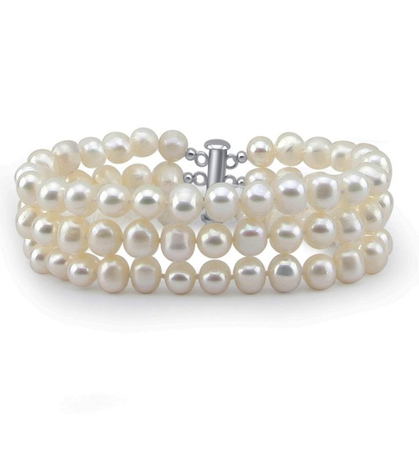 "3-Row White A Grade 6.5-7 mm Freshwater Cultured Pearl Bracelet- base metal Clasp- 8.5"" - C912NRNJ3W5"