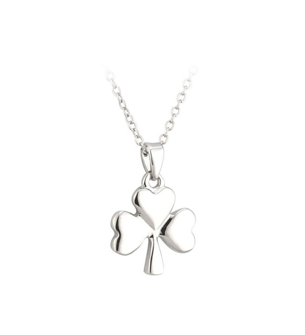 Shamrock Necklace Rhodium Plated Irish Made - CY116HG51BB