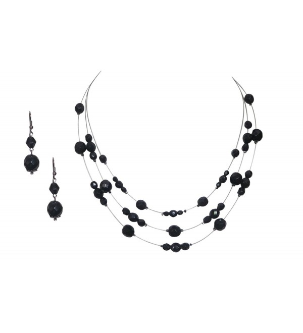 Unique Handmade Jewelry Black Crystal Necklace Earring Jewelry Set - C011ZQJCEMJ