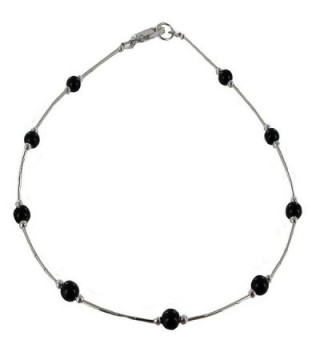 Womens Black Onyx & Sterling Silver Tube Ladies Beaded Gemstone Anklet with Daisies - CL11DUOVJYB