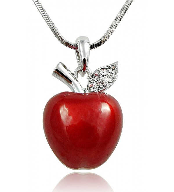Gift for Teachers - 3D Juicy Red Apple Crystal Accented Leaf Pendant Necklace Jewelry Gifts for Mom Mother's Day - CE128PB3Z27