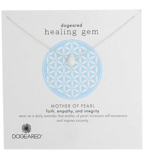 Dogeared Lasting Healing Gems Mother-of-Pearl Pendant Necklace - Silver - CS11IZCC5LT
