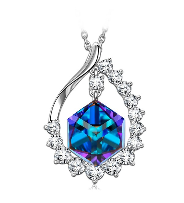 SIVERY Mothers Pendant Necklace Swarovski - Blue - CA17YYH3IMX