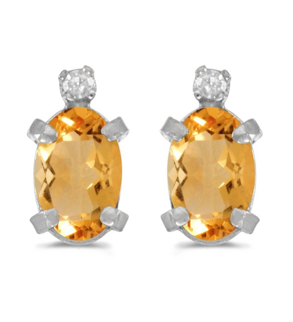 Sterling Silver Oval Citrine and Diamond Earrings - CP118AF63QX