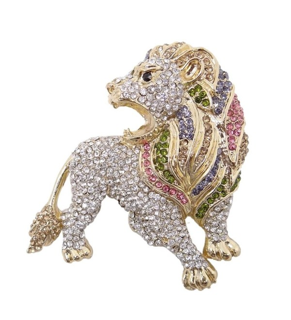 EVER FAITH Roaring King Lion Austrian Crystal Brooch - Multicolor Gold-Tone - CF11DV8DNA3