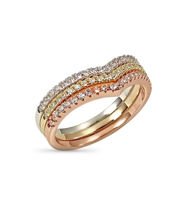 Chevron Ring Set - Three Stackable Rings Gold Rose Silver Tone Pave Set Crystals - CT187ZMKX06