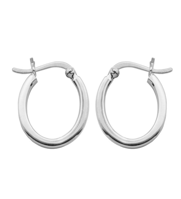 "Sterling Silver Square Tube Oval Hoop Earrings (0.66"" diameter) - C4183LMSXCC"