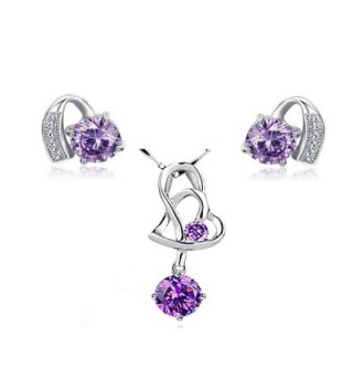 925 Sterling Silver Purple Crystal Pendant Necklace Stud Earrings Set for Women Teen Girls Gift - CR187576O7D
