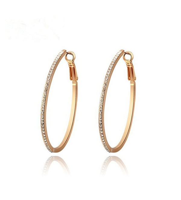 Aini Savoie Rose Gold Plated Princess Cutting Austrian Crystal Hoop Earrings - CB12JI4W40T