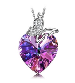SIVERY Butterfly Pendant Necklace Swarovski - Purple - CA17Z5MKYOM