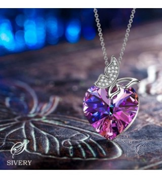 SIVERY Butterfly Pendant Necklace Swarovski in Women's Pendants