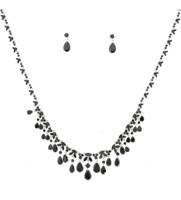 Topwholesalejewel Fashion Jewelry Set Silver Plating Jet Stone Necklace Earrings Set - CA11IAU5XEV