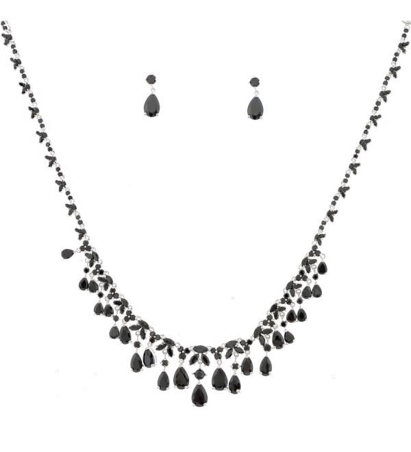 Topwholesalejewel Fashion Jewelry Set Silver Plating Jet Stone Necklace Earrings Set - CA11IAU5XEV