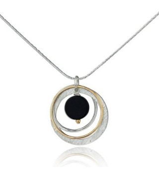 "Two Tone Black Onyx Multi Hoops Necklace 925 Sterling Silver & 14k Gold-Filled Pendant- 18"" + 4"" Extender - CP12NSB56ZM"