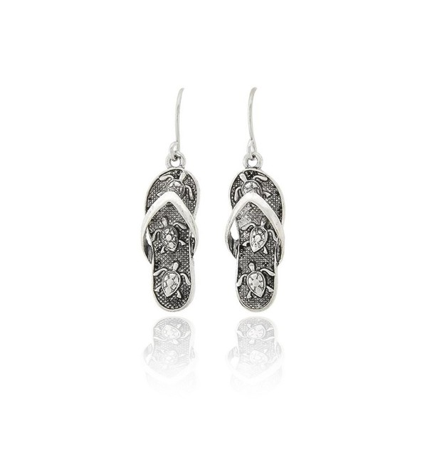 Antiqued Silver Sea Turtle Engraved Flip-flop Earrings - CJ120CI1JQ5