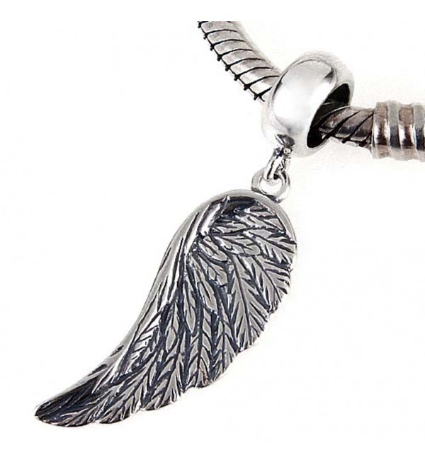 Angel Wing Charms 925 Sterling Silver Feather Pendant Dangel Christian Charm for DIY Charms Bracelet - C612NFF8NUX