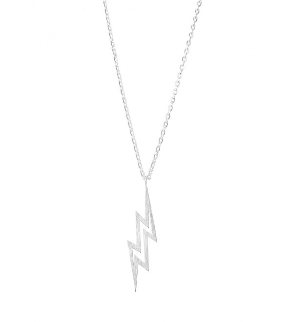 Altitude Boutique Lightning Bolt Necklace Pendant- The Flash Necklace- Brushed Unisex (Gold- Silver) - Silver - CL188UH3TML