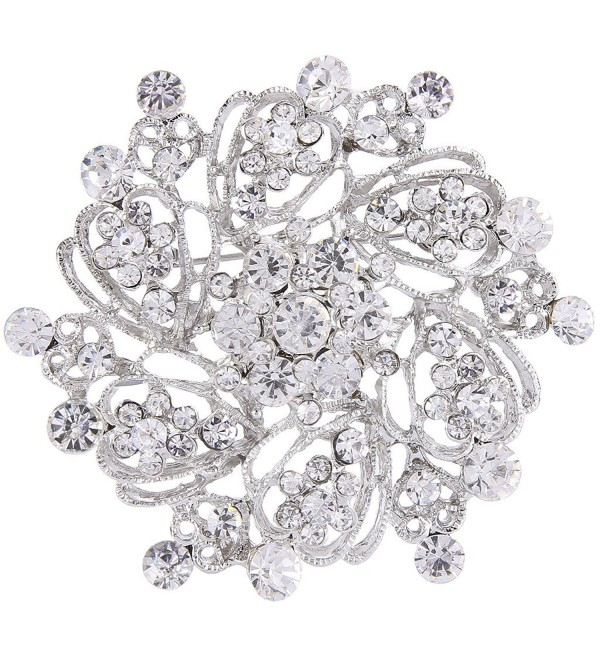 EVER FAITH Women's Austrian Crystal Elegant Flower Bridal Corsage Brooch Pin Clear Silver-Tone - CF12FGLDSV7
