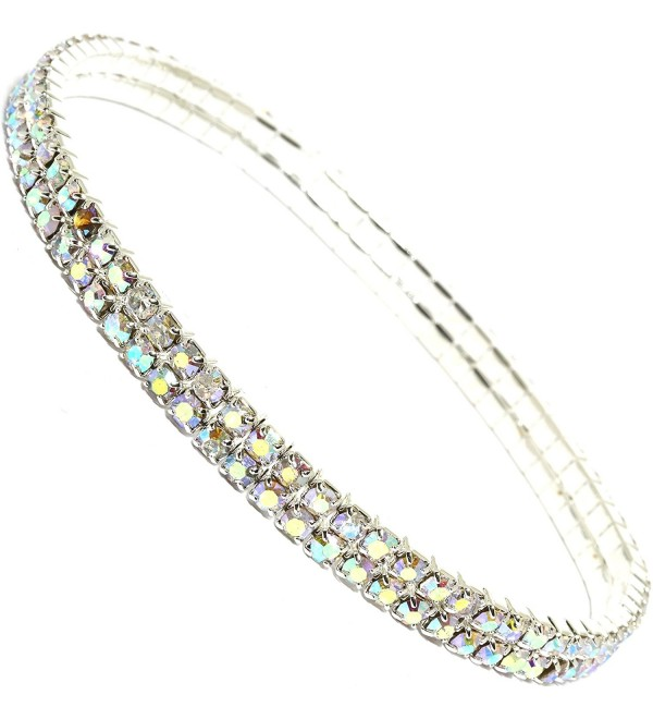 AnsonsImages Stretch Anklet Bracelet Double Line Aurora Borealis Colored Rhinestones - CG12NZCNKMO