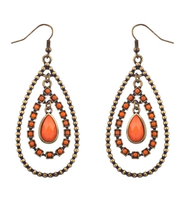 Lux Accessories Orange & Burnished Gold Tear Drop Statement Earrings - CK11TL5S38N