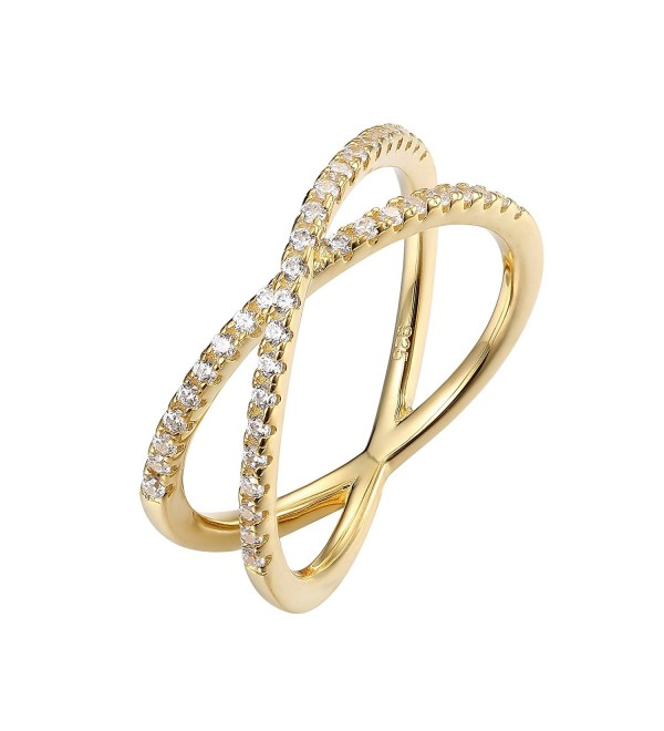 PAVOI 14K Gold Plated X Ring Simulated Diamond CZ Criss Cross Ring for Women - CG184SREL68