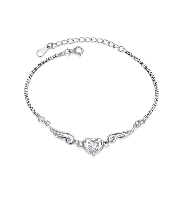 Sterling Silver Simulated Diamond Box Chain Heart Bracelet (BSHC1004SVR_CZ) - CT11QBDS58L