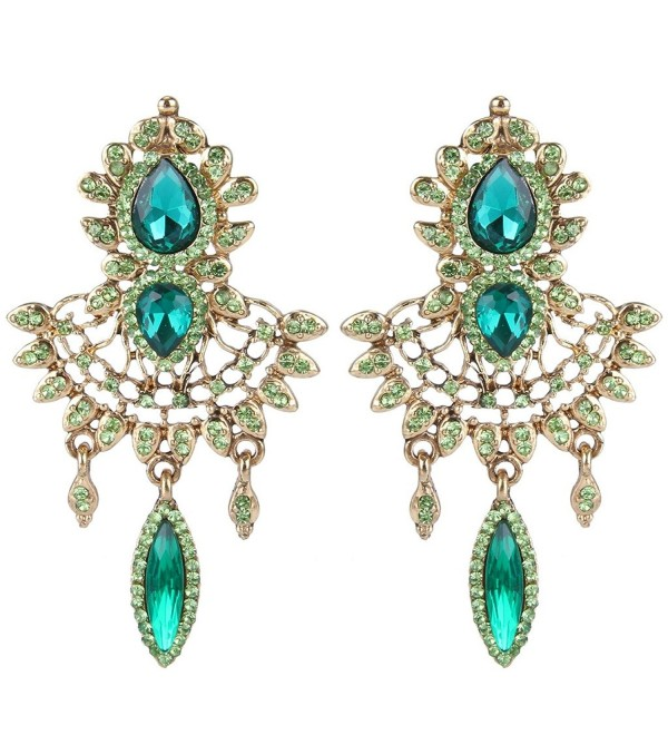 EleQueen Women's Austrian Crystal Art Deco Chandelier Bridal Teardrop Earrings - Antiqued-gold-tone Emerald Color - C5122UWHV3L