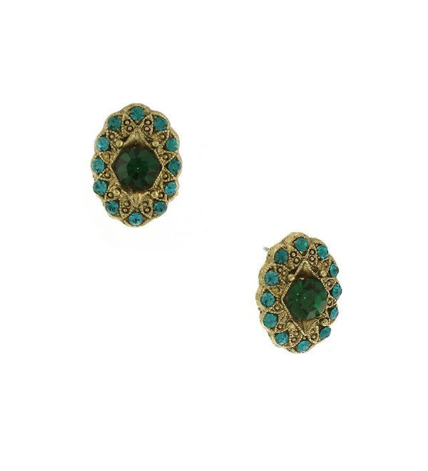 1928 Jewelry Signature Emerald-Color Crystal Oval Button Earrings - CG11FV87H13