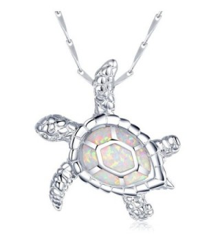 fire Opal Jewelry Opal Pendant Opal Necklace Sea Turtle Pendant Sterling Silver - White - CN12GQC5T5X