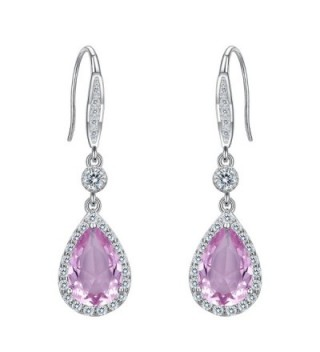 EleQueen Sterling Zirconia Teardrop Earrings - Pink - C1188IQHZ4D