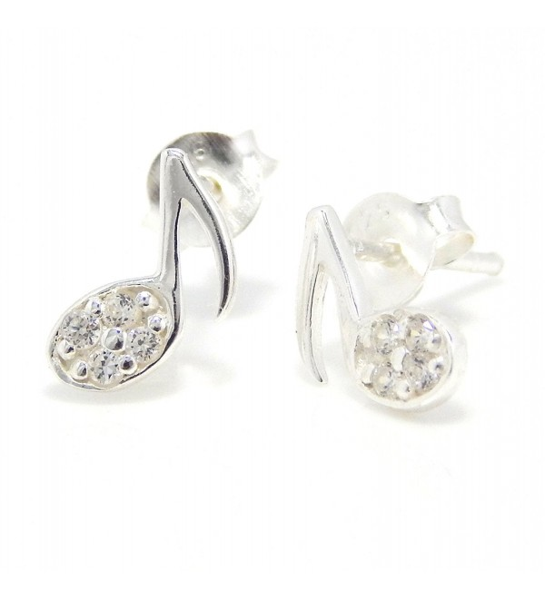 "Pro Jewelry .925 Sterling Silver ""CZ Music Note"" Stud Earrings for Children & Women EES JB 2069 - CF11JL2KX4D"
