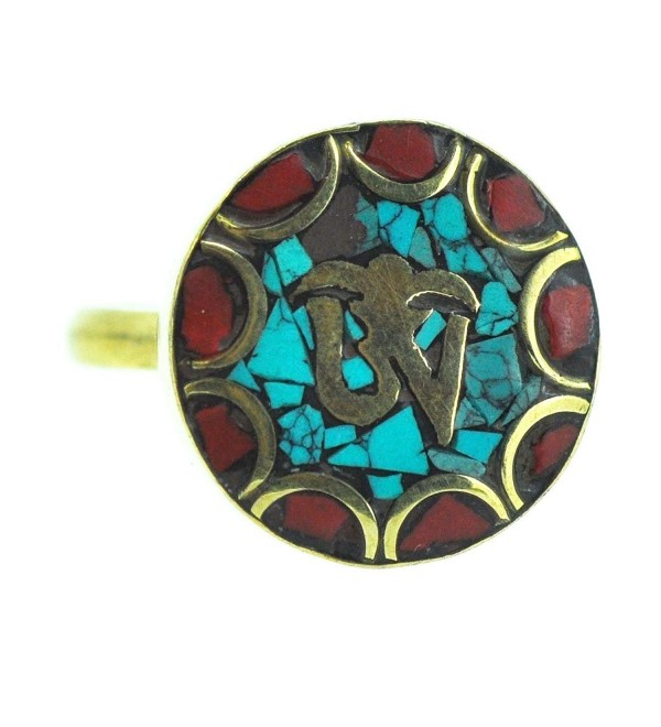 Tibetan Gold Tone Simulated Turquoise Inlaid Om Ring- Buddhist Ring - C311LBKHGX9