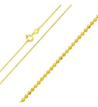 Sterling Silver 1.2 mm Gold Plated Diamond Cut Bead Ball Chain Necklace- Made in Italy - CY183R3T4S2