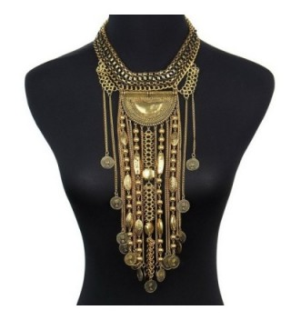 SUMAJU Statement Necklace- Beads Coin Fringe Statement Necklace Bohemian Ethnic Tribal Boho - Gold-Tone - C612N5N4GYI