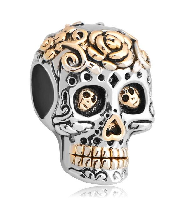 LuckyJewelry Skull Cross Silver Plated Dia De Los Muertos Beads Sale Cheap fit Pandora Bracelet - C912JO229XH