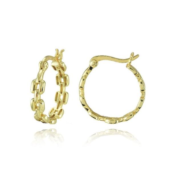 Sterling Silver Square Link-Design Round Hoop Earrings - CI18593LH27