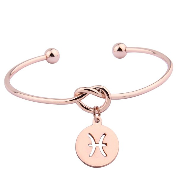 Zuo Bao Rose Gold Love Knot Bracelet Tie the Knot Cuff Bangle with Zodiac Signs Disc Charm - Pisces - CC182ZKIDOC