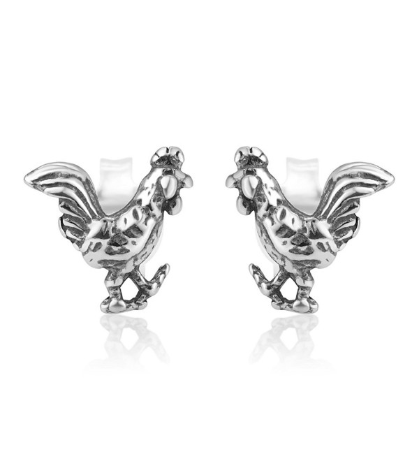 925 Oxidized Sterling Silver Tiny Little Rooster Cock Chinese Zodiac Post Stud Earrings 8 mm - CP12O6YOS2F