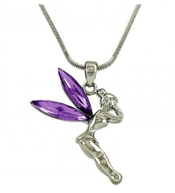DianaL Boutique Beautiful Purple Tinkerbell Fairy Charm Pendant Necklace Jewelry - CJ1172Y4JKV