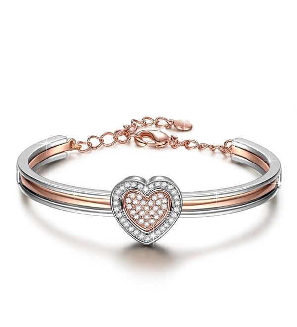 "J.NINA ""Cupid Heart"" 7 Inches Rose-Gold Plated Heart Combo Women Bracelet Bangle Made with Swarovski Crystals - CR12O8UD86L"