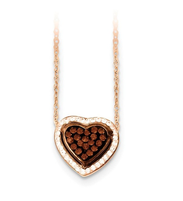 Sterling Silver 14K Rose Gold-Plated 18in Stellux Crystal Chocolate & Clear Heart Necklace - CG11FRSBW59