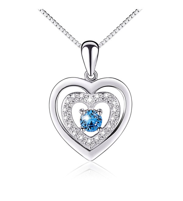 "Valentine's Day Gift Sterling Silver Blue CZ Forever Love Heart Necklace for Girlfriend Wife- 18"" - CE12IZWOPPH"