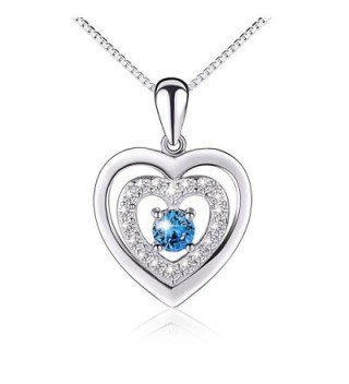 """Valentine's Day Gift Sterling Silver Blue CZ Forever Love Heart Necklace for Girlfriend Wife- 18"""" - CE12IZWOPPH"""