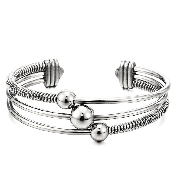 Three-Row Women's Stainless Steel Adjustable Open Cuff Bangle Bracelet with Cable and Ball Charms - CB182SSR5RC